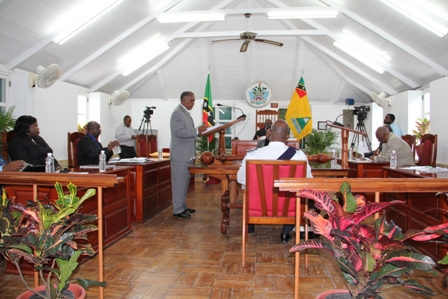 Premier of Nevis and Minister of Finance Hon. Vance Amory delivering the 2013 Nevis Island Administration Budget Address at the Nevis Island Assembly on April 26, 2012